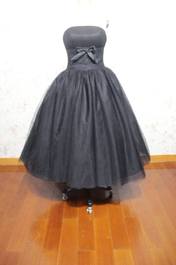 Cheap black princess strapless tea length tulle wedding for Black tea length wedding dress