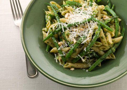 Multi-Grain Penne with Hazelnut Pesto, Green Beans, and Parmesan. Via ...