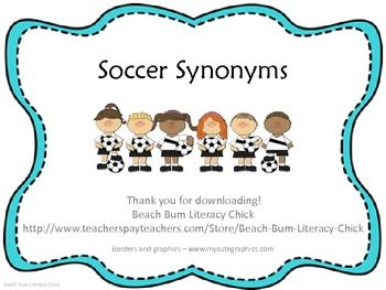 Soccer Synonyms - Common Core Bundle Pack