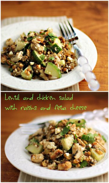 Lentil and chicken salad with raisins and feta cheese. #glutenfree