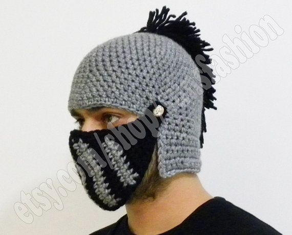Black Silver Grey Crocheted Knight Helmet Hat Crochet Slouch Gift Chr ...
