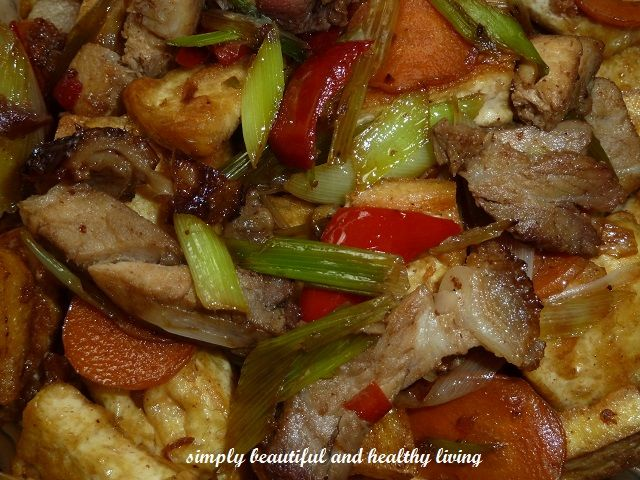 Stir Fried Chinese Leeks with Roast Pork and Hard Tofu (Taukwa/Bean ...