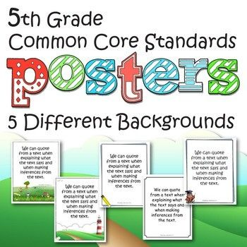 Grade 5 Common Core Standards Posters - ELA and Math - five different backgrounds and frames to choose from. These look great printed in by mandy