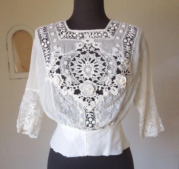 Antique Edwardian White Crochet Lace Blouse Shirtwaist 97