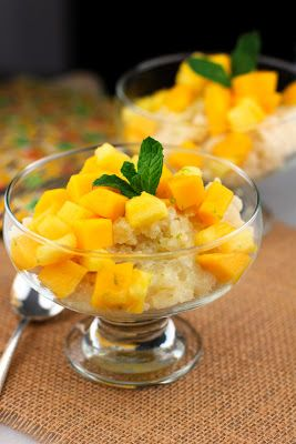 ... and refreshing pineapple-mango compote enhanced with ginger and lime