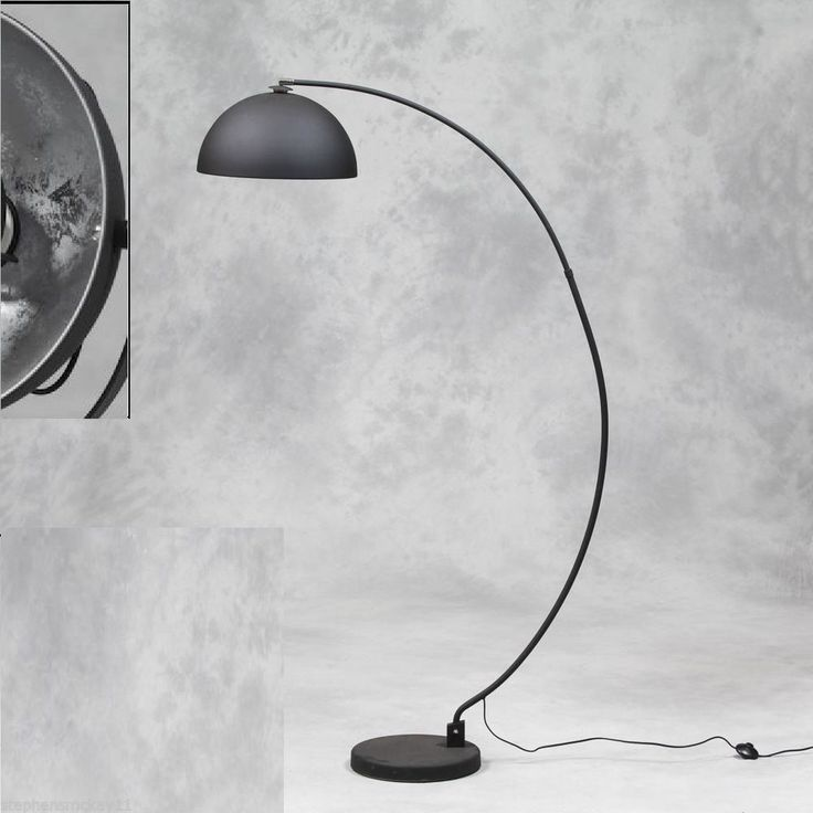 LARGE BLACK ARC STYLE FLOOR LAMP WITH SILVER INNER SHADE