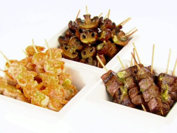 Shrimp and Beef Skewers with Soy and Scallion Butter...need a food ...
