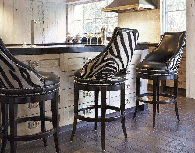 Zebra Bar Stools Leather