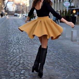 Galerry flared dress with boots