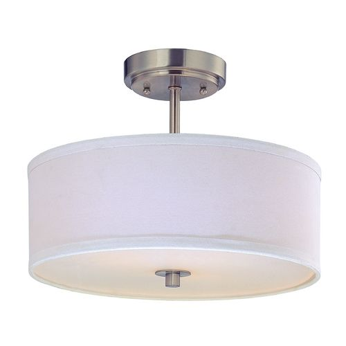 drum semi flush ceiling light with white shade 14 inches. Black Bedroom Furniture Sets. Home Design Ideas