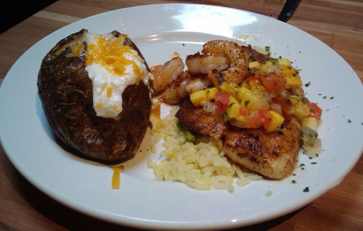 Cheddar's grilled tilapia with mango salsa - favorite meal there