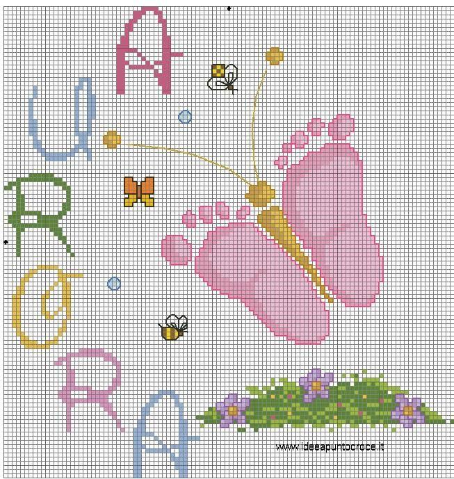 Schema farfalla con piedini di bimba nascita schemi a for Idee punto croce bimbi