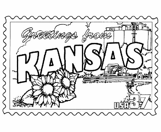 Kansas State Stamp Coloring Page Usa Coloring Pages Pinterest