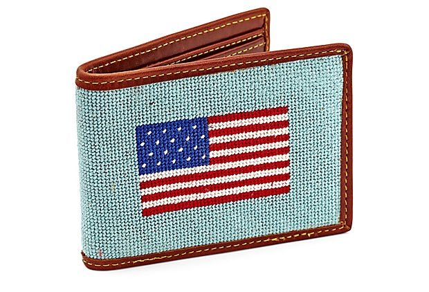 american flag with blue stripe