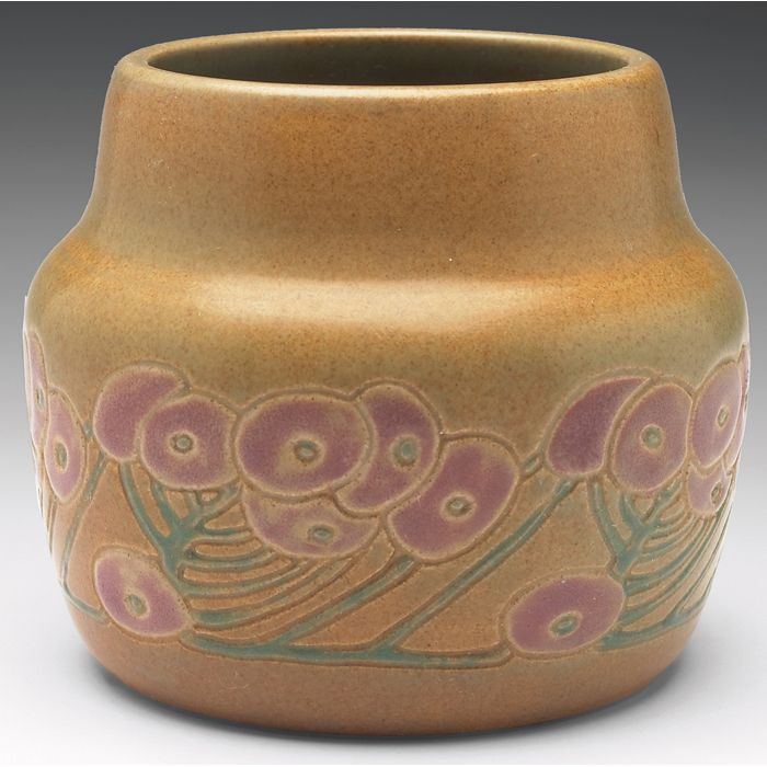 Overbeck pottery vase painted and glazed pottery circa 1915