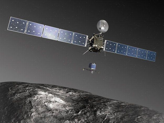 "Rosetta orbiter deploying the Philae lander to comet 67P/Churyumov–Gerasimenko (not to scale) - artist's impression. [Credit: ESA–C. Carreau/ATG medialab] Mona Evans, ""Rosetta the Comet Chaser"" http://www.bellaonline.com/articles/art182574.asp"