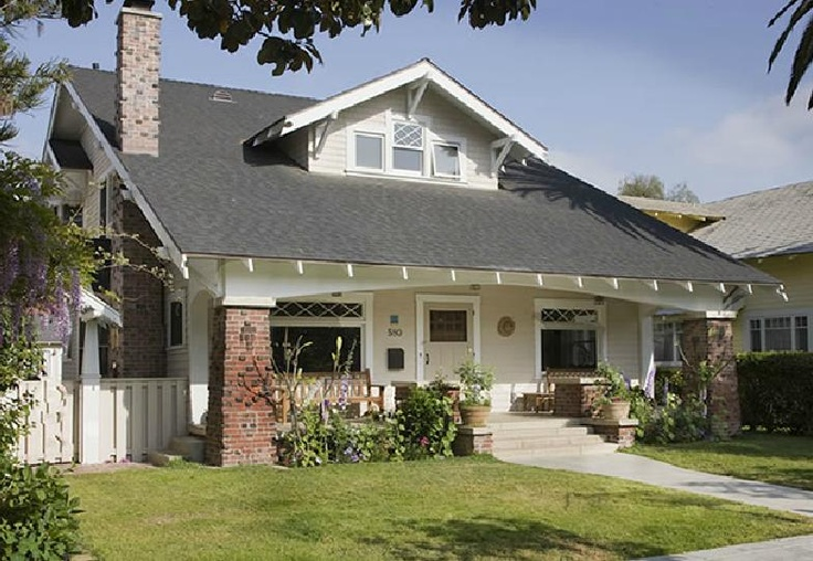 Craftsman bungalow with brick bungalow pinterest Brick craftsman house