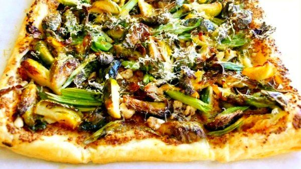 brussel sprout and green onion galette with walnut mustard