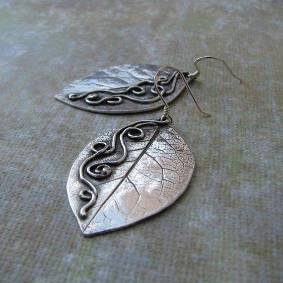 precious metal clay artisan earrings silver leaves