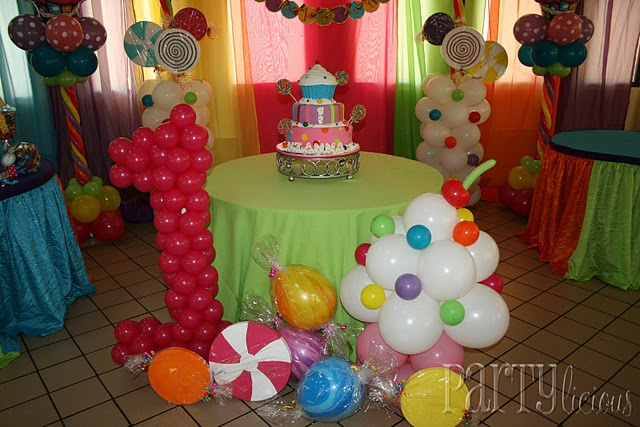 Balloon decorations cool candy land theme pinterest for 1st birthday balloon decoration ideas
