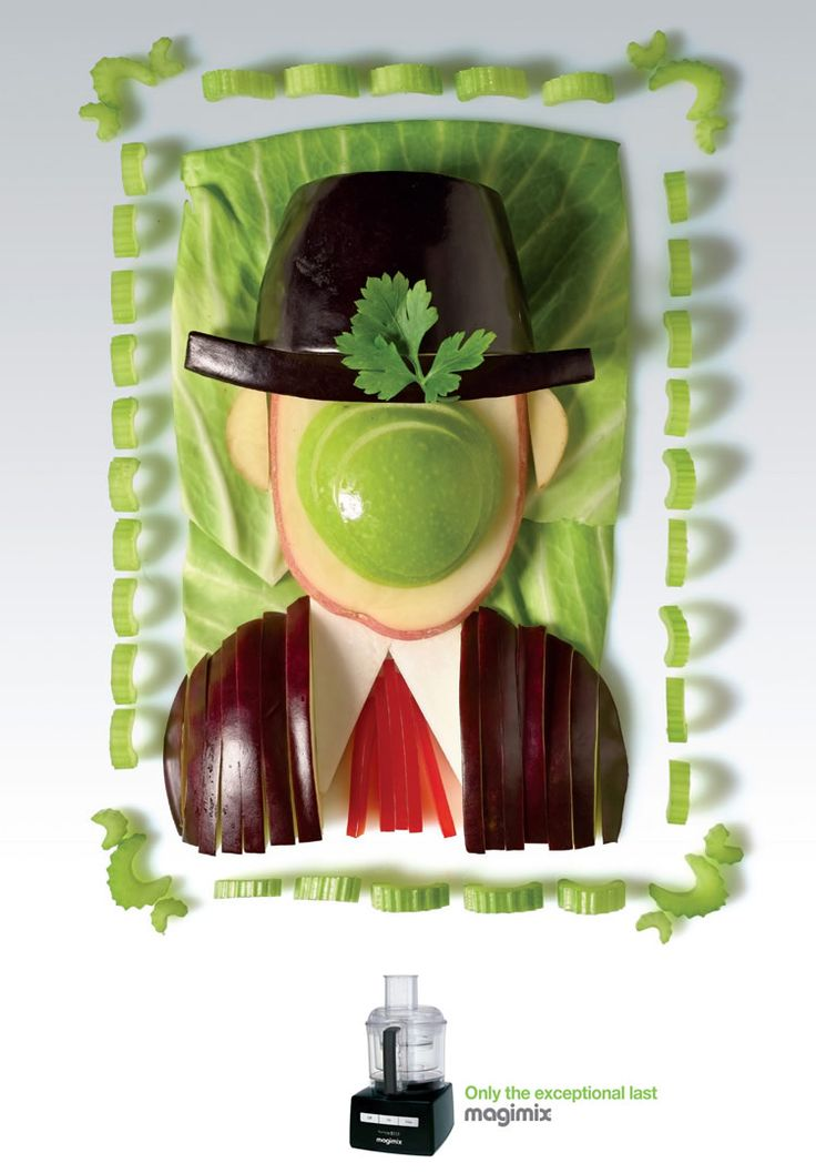 Recognize Magritte? Famous Paintings Made From Veggies and Fruit. The posters were designed by Shalmor Avnon Amichay from Y Interactive, Tel Aviv.