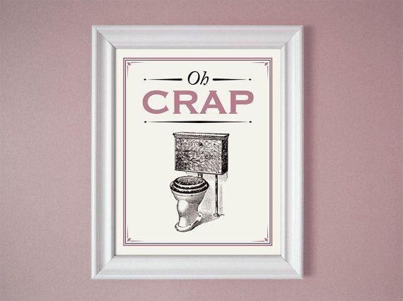 Oh crap pink mauve humorous bathroom sign wall decor art 8x10 11x14 1 - Funny bathroom wall decor ...