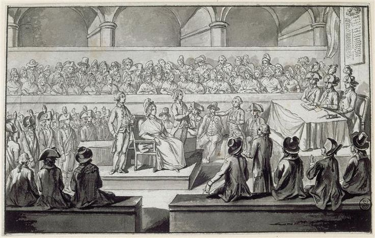 Marie-Antoinette before the revolutionary tribunal; 14, 15, 16 Oct 1793, black ink and pen (Louvre)