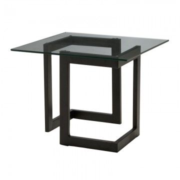 Black geo end table with glass modern event style from cort events