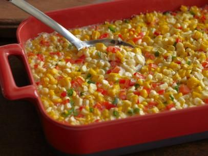 What's cooking? @Ree Drummond | The Pioneer Woman's Fresh Corn Casserole with Red Bell Peppers and Jalapenos!