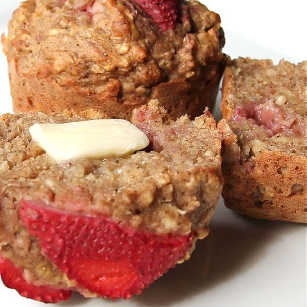 just made these... strawberry banana oatmeal muffins, yum yum