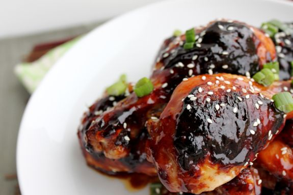 sweet and spicy chicken...although I would use chicken breasts. not so ...