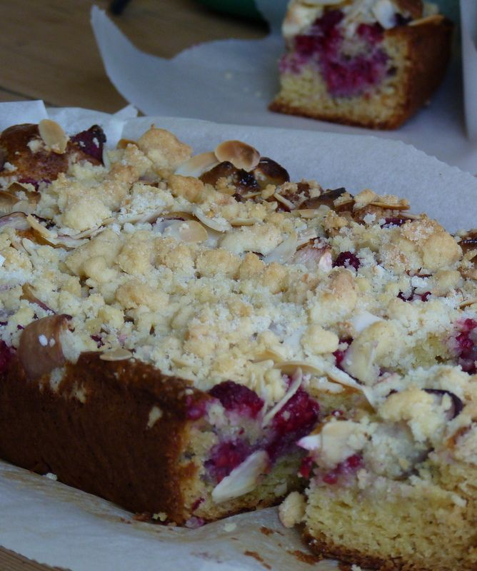 Raspberry Crumble Cake - sponge base topped with raspberries, flaked ...