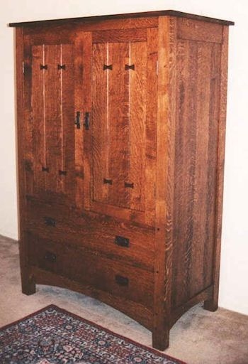 01232 Mission Style Entertainment Center Cabinet