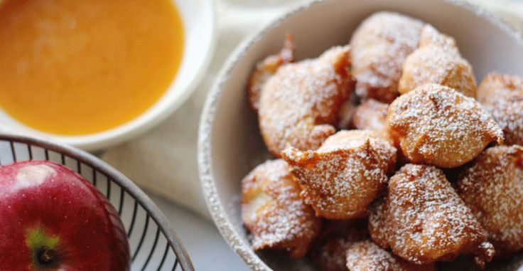 Apple Cinnamon Beignets with Apple Cider Caramel Dipping Sauce
