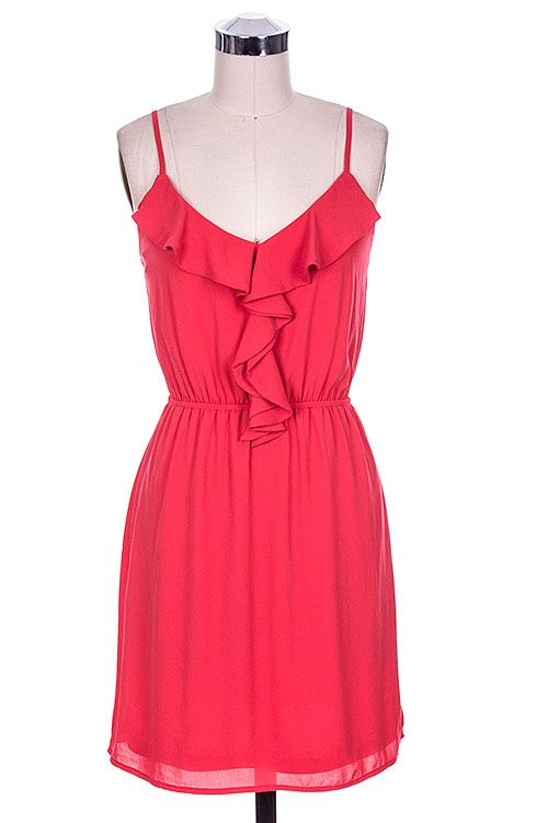 Red sundress with ruffle trim & figure flattering cinched waist ($44)