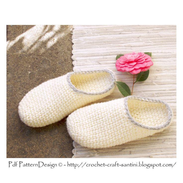 Crochet-Knit White Slipper-Clogs - Basic Pattern - Instant ...