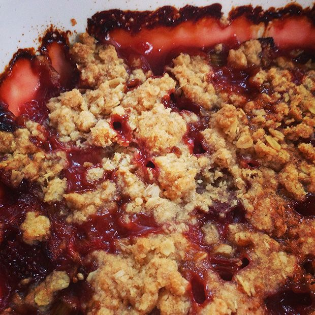 Strawberry rhubarb crisp - made it last night with reduced sugar and ...