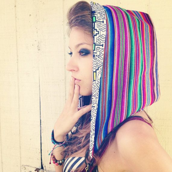 Music Patterns Hood reversible Peruvian unisex BURNING MAN heady festi accessory on Etsy, $50.00