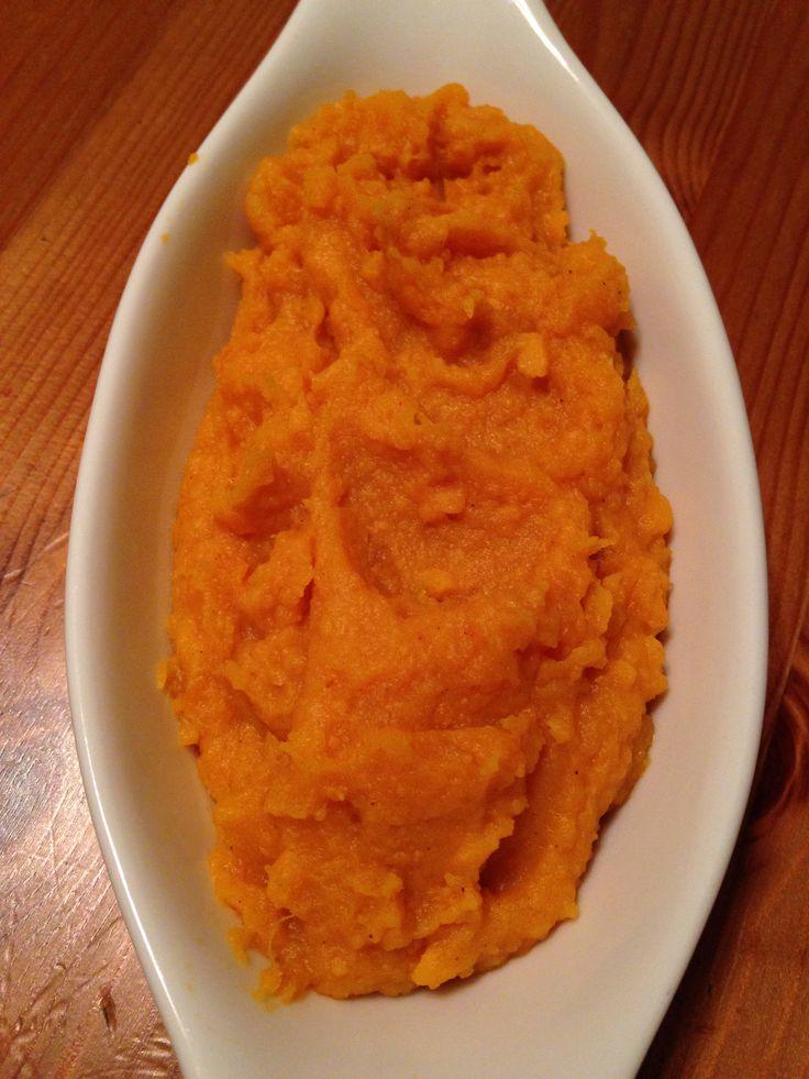 Maple mashed sweet potatoes. Peel & boil 3-4 medium sweet potatoes ...