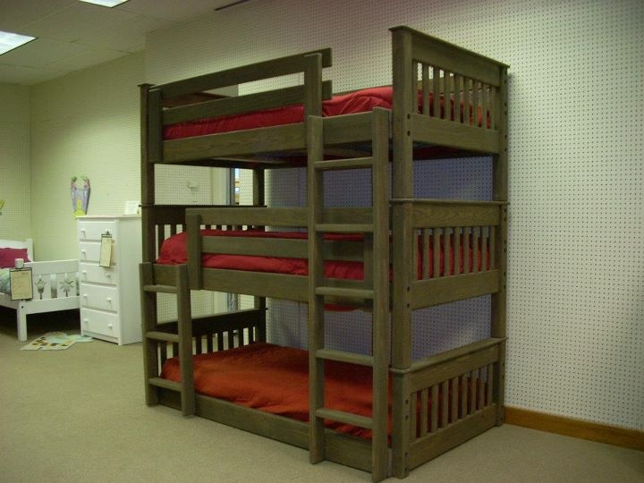 This triple bunk bed looks like it can also be used as three ...