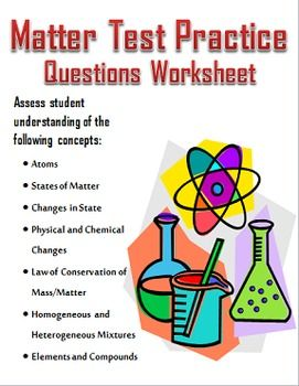 Physical and chemical changes worksheet middle school science