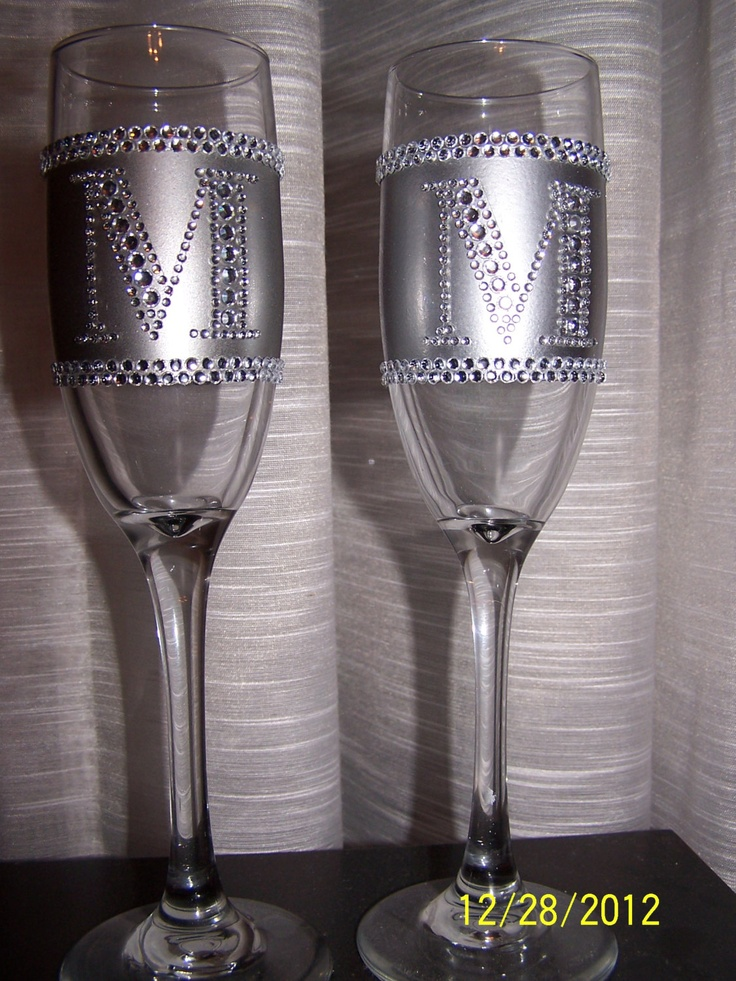 Diy personalized monogram bling rhinestone wedding for Wedding champagne flutes