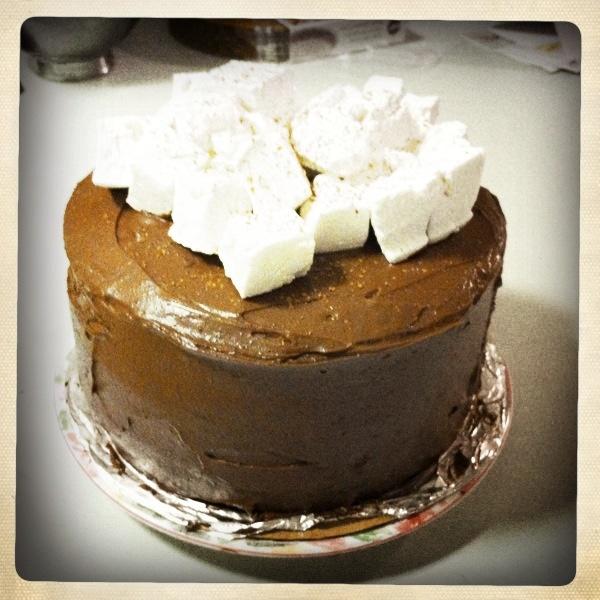 Hot Chocolate Layer Cake with Homemade Vanilla Marshmallows
