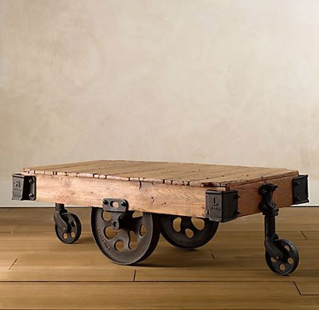 Vintage furniture factory carts from restoration hardware for Mesa de centro rustica