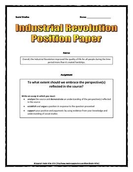 INDUSTRIAL REVOLUTION RESEARCH PAPER - TeachersPayTeachers.com
