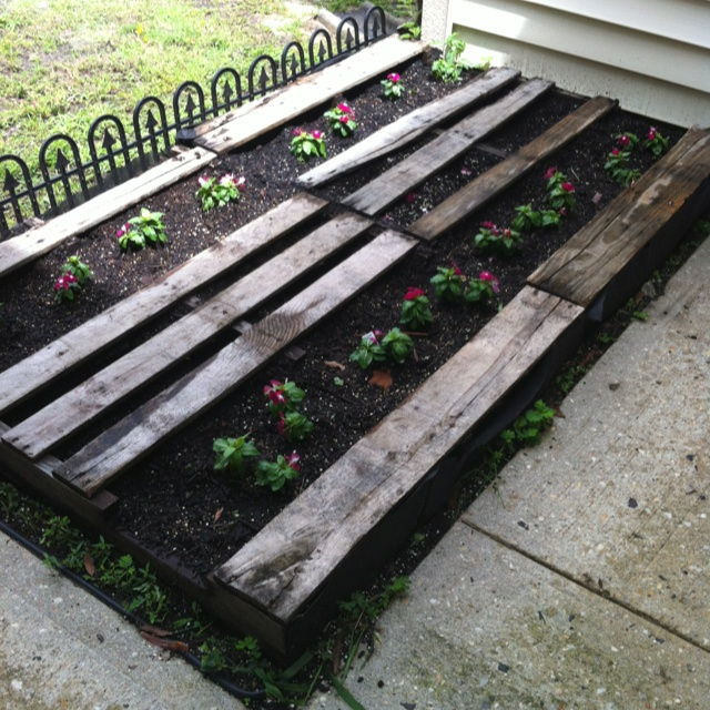 pallet flower bed whimsical gardens pinterest