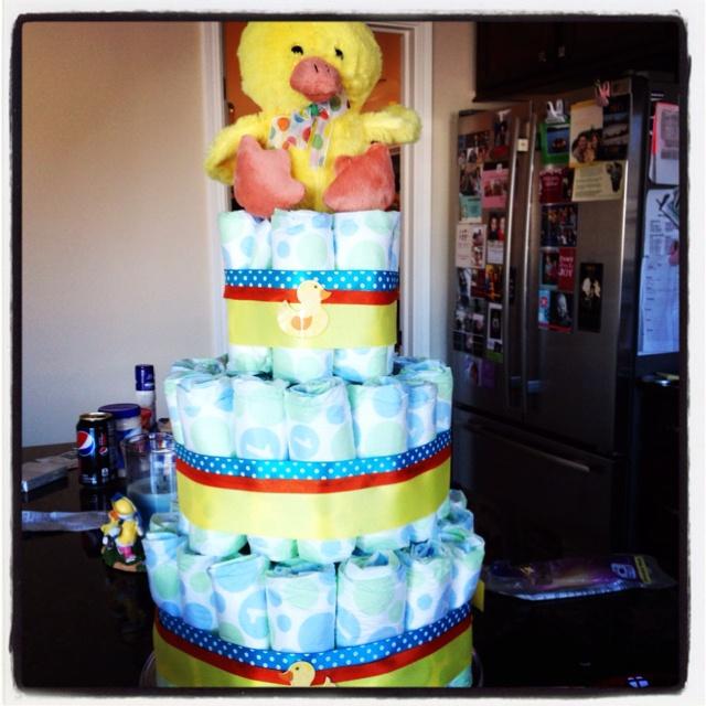 diaper cake using ribbon ducky from hobby lobby for baby shower