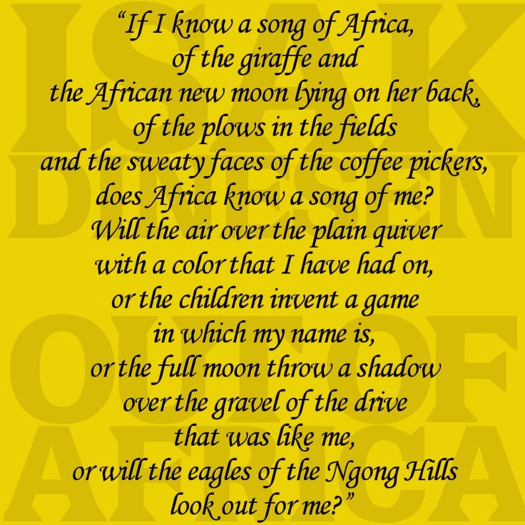 a summary of out of africa by isak dinesen Isak dinesen's autobiographical novel, out of africa, recounts the years she spent on a coffee plantation in east africapublished in 1937, the book garnered critical and popular acclaim, especially in britain and america.
