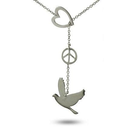 Sterling Silver Peace Dove Lariat