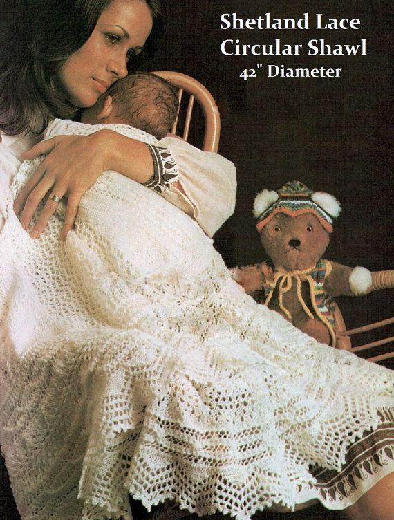 2 Ply Knitting Patterns : Baby Shetland 2 ply Lace Circular Shawl - Vintage Knitting Pattern PD?